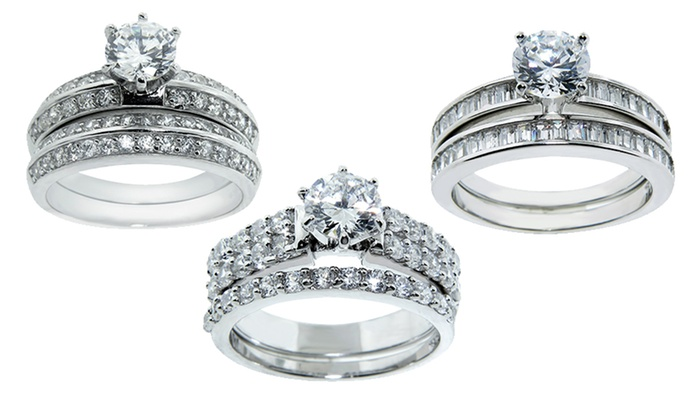 2-Piece Cubic Zirconia Wedding-Ring Sets: 2-Piece Sterling Silver and Cubic Zirconia Wedding-Ring Sets. Multiple Styles Available.