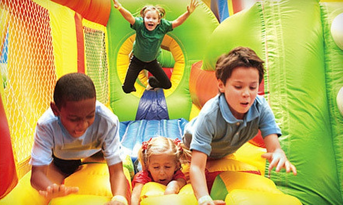 Monkey Joe's - Johns Creek: Four or Eight Inflatable-Play-Center Visits or Party with Pizza for Up to 24 Kids at Monkey Joe's (Up to 55% Off)