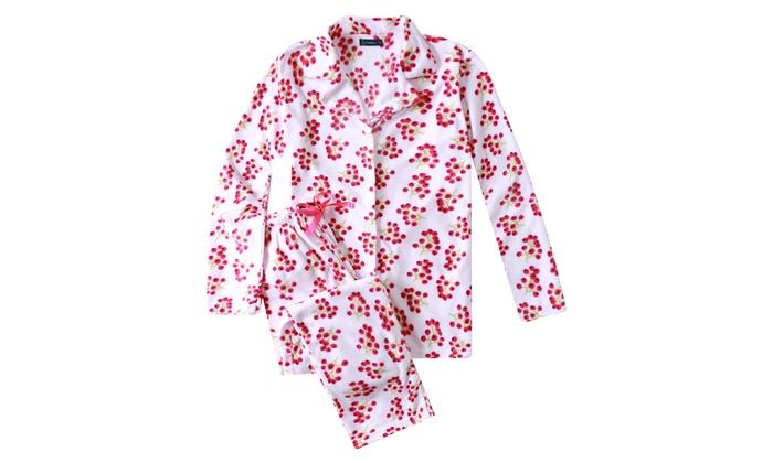 Women/'s Micro Fleece Pyjama Set Pink Size 12-14