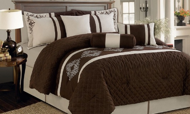 Seven piece bed comforter set groupon for Beds groupon