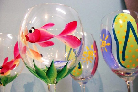 Pottery-Painting or BYOB Wineglass-Painting for Two, or Party for 10 at Art-Sea Living (Up to 45% Off)
