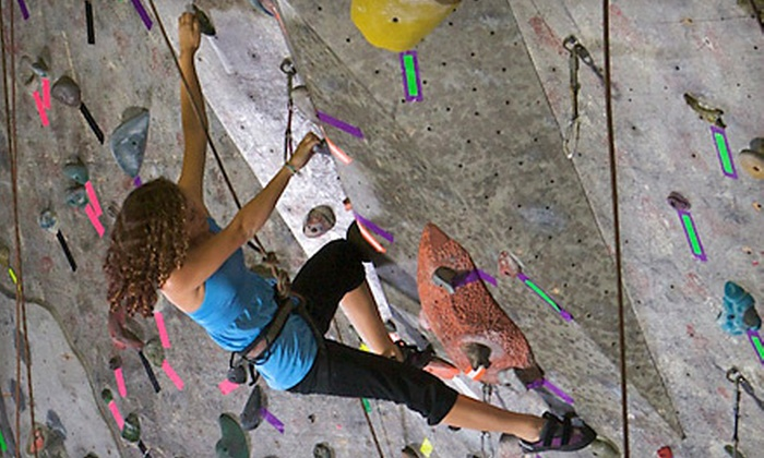Vertical Adventures - Busch: Introductory Rock-Climbing Class with a Month of Unlimited Visits or Five Visits at Vertical Adventures (Up to 75% Off)