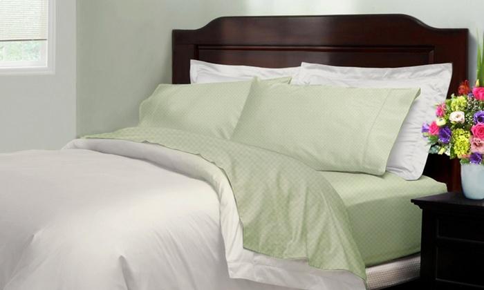 4-Piece Checkered Microfiber Bedsheet Set: 4-Piece Checkered Microfiber Bedsheet Set. Multiple Colors Available.