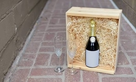 One, Two, or Three Custom-Labeled Bottles of Champagne, Merlot, or Chardonnay with Decorative Wooden Box from Select Vintage (Up to 55% Off)