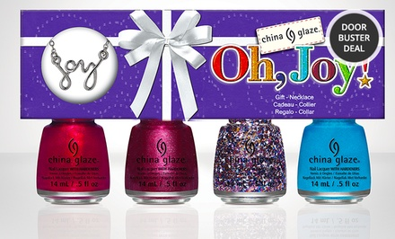 China Glaze Oh, Joy! 4-Polish Set with Necklace