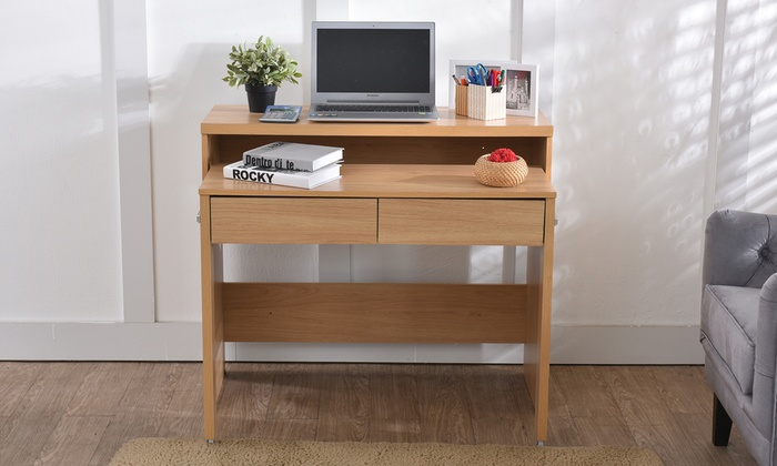 bureau console extensible avec 2 tiroirs groupon. Black Bedroom Furniture Sets. Home Design Ideas
