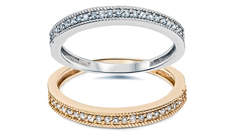 1/4 CTTW Diamond Ring in 14K White or Rose Gold by Bliss Diamond