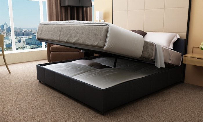 Groupon Goods Sil Gas Lift Ottoman Bed Frame With Storage E Queen