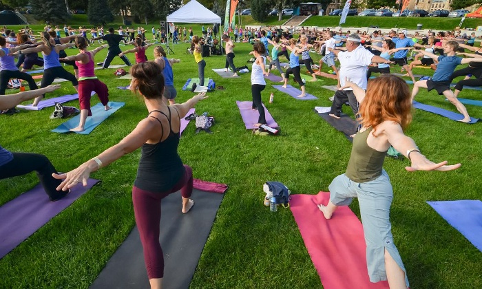 Yoga Rocks the Park - Pack Square Park - Roger McGuire Green: $15 for Two Tickets to Opening Day of Yoga Rocks the Park on Sunday, June 1 ($30 Value)