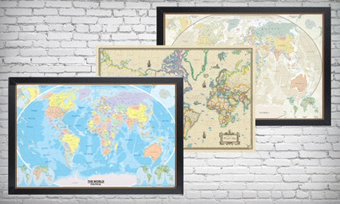 Up to 73 off a framed or unframed world map swiftmaps gicle framed or unframed 24x36 swiftmaps gicle canvas wall map up to 73 gumiabroncs Choice Image