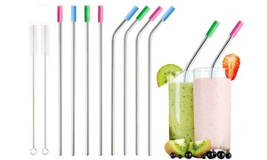 Stainless Steel Extra Wide Drinking Straws with Colored Silicone Tops