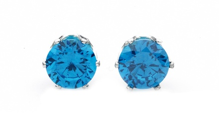 London Blue Swarovski Elements Stud Earrings in Sterling Silver