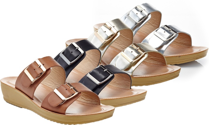 a724201cc68f Women s Wedge Casual Comfort Sandals with Double Buckles (2-Pairs). Women s  Wedge Sandals (2-Pairs)