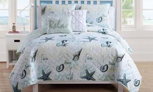 Shore Life Reversible Quilt Set (4-Piece)