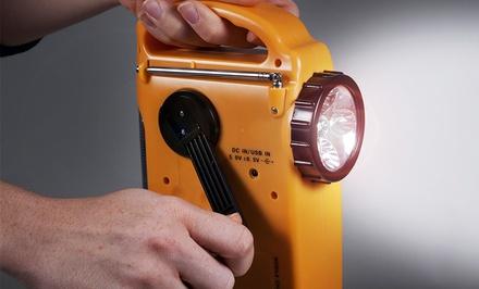 Emergency Flashlight, Radio, and Siren with 5 Power Supplies
