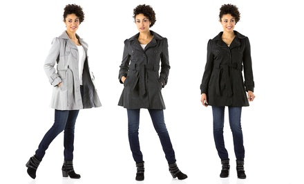 Miss London Women's Long Wool Trench