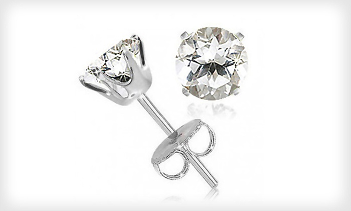 2-Carat White-Topaz Stud Earrings: $9 for a Pair of 2-Carat White-Topaz Stud Earrings ($99.99 List Price). Free Returns.