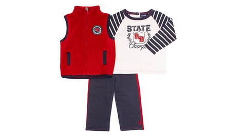 Rugged Bear Toddler Microfleece or Puffer Vest 3-Piece Set. Multiple Styles Available.
