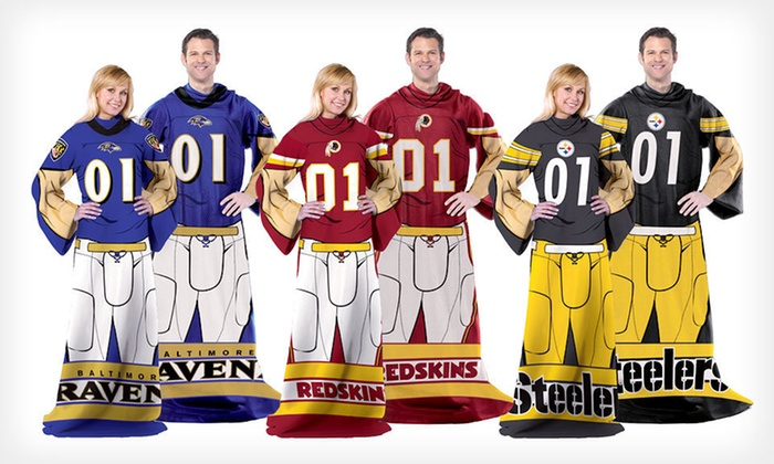 NFL Full-Body Comfy Throw: $13 for an NFL Full-Body Comfy Throw with Sleeves ($27.99 List Price). 21 Teams Available.