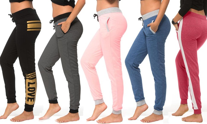 Coco Limon Women's Fashion Fleece Joggers (5-Pack)