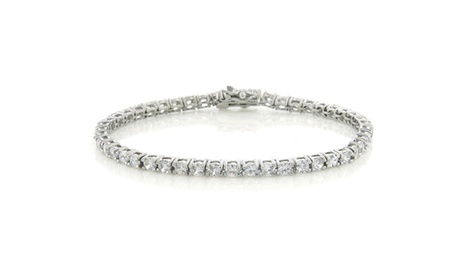 18K White-Gold-Plated Tennis Bracelet with Round C...