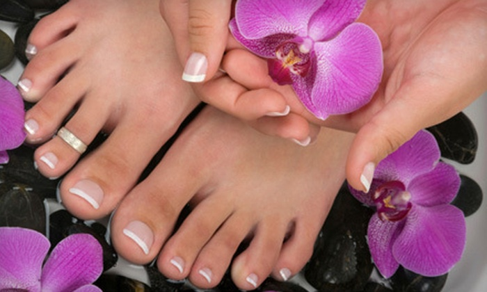 VIP Nails - Heritage: Pearl Spa Mani-Pedi or a Full Set of Pink and White Nails at VIP Nails (51% Off)