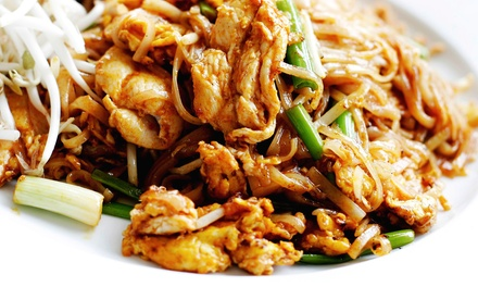 Thai Food Dinner for  Two or Four at Green Shallots Thai Gourmet Express(50% Off)