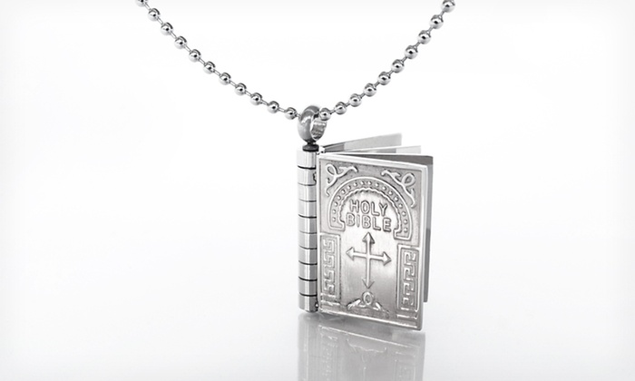Stainless Steel Bible Pendant Necklace: $14.99 for a Stainless Steel Bible Pendant Necklace ($79 List Price). Free Returns.