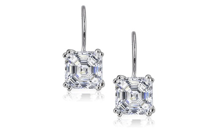 Asscher-Cut Cubic Zirconia Leverback Earrings in Sterling Silver