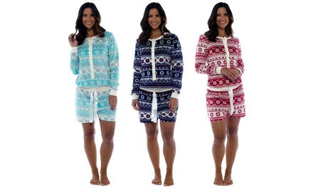Womens Fleece Fairisle Playsuit