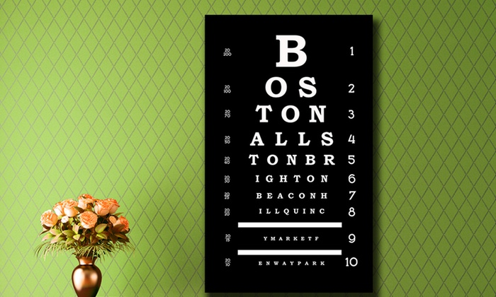 """20""""x36"""" City Eye Chart Gallery-Wrapped Canvases: 20""""x36"""" City Eye Chart Gallery-Wrapped Canvases. Multiple Cities Available. Free Shipping and Returns."""