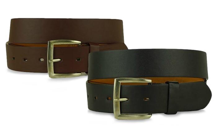 Solid Men's Basic Leather Dress Belts (2-Pack)
