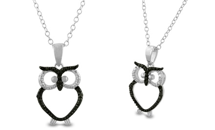 1/50 CTTW Black Diamond Owl Pendant in Sterling Silver