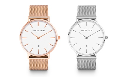 Abbott Lyon Unisex Silver  or Rose Gold  Plated Watch With Free Delivery
