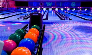 Oasis Lanes: Cosmic Bowling for Two, or Two Hours of Bowling for 6 or 12 with Pizza and Soda at Oasis Lanes (Up to 51% Off)