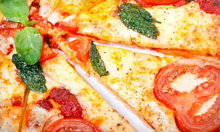 "Bulldog's Red Hots - Batavia: $9.99 for a Pizza Meal with Two 14"" Pizzas and Drinks at Bulldog's Red Hots ($19.56 Value)"