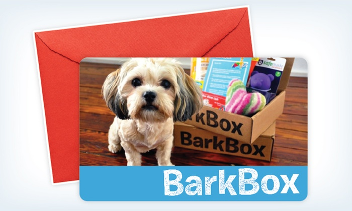 BarkBox: Three- or Six-Month Subscription Gift Card for Monthly Delivery of Dog Goodies from BarkBox (Up to 41% Off)