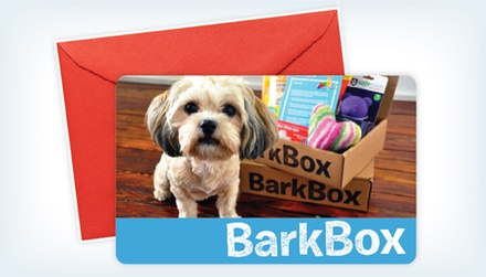 Three- or Six-Month Subscription Gift Card for Monthly Delivery of Dog Goodies from BarkBox (Up to 41% Off)