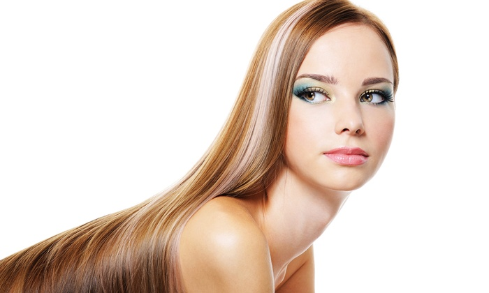 World Beauty Center - Journal Square: Keratin Treatment, or Haircut and Style with Optional Half-Top Highlights at World Beauty Center (Up to 52% Off)
