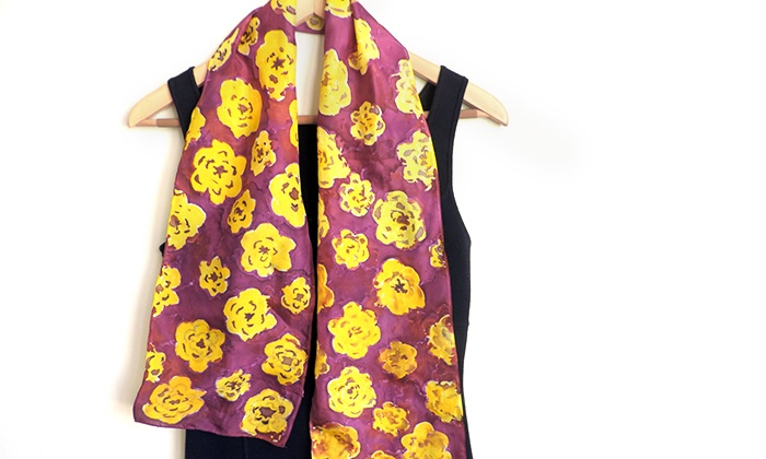 Hand-Painted Silk Scarf: 20% Off Hand-Painted Silk Scarf from Divine NY & Co.