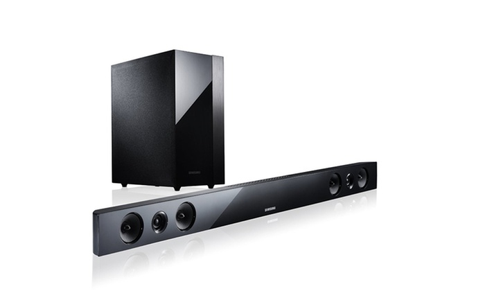 samsung sound bar with wireless active subwoofer groupon. Black Bedroom Furniture Sets. Home Design Ideas