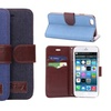 iPM Denim and Faux Leather Wallet Case for iPhone 6