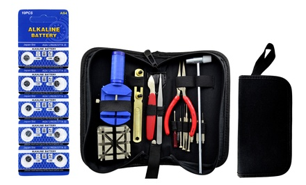 Deluxe Watch Repair Tool Kit with 10-Pack of Batteries and Optional Carrying Case for $12.99 or $14.99