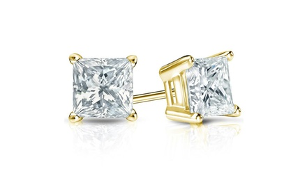 14K Gold Princess-Cut Cubic Zirconia Stud Earrings