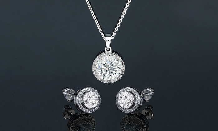 Up to 75 off on swarovski elements jewelry set groupon goods round halo pendant and earring set made with swarovski elements aloadofball Image collections