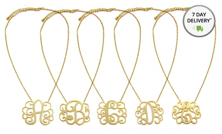 Gold-Plated Initial Monogram Necklace. Multiple Letters Available. Free Returns.