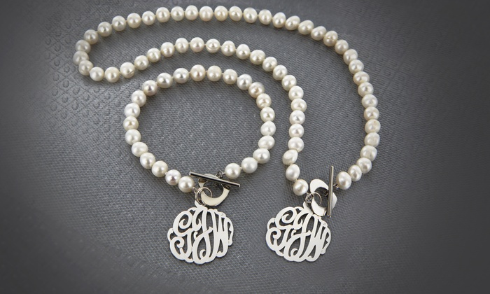 Monogram Pearl Jewelery Groupon Goods