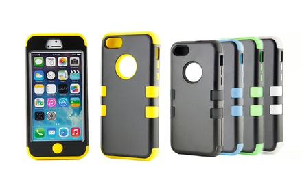 groupon daily deal - Hybrid Rugged Case for iPhone 4/4s, 5/5s, or 5c. Multiple Colors Available. Free Returns.