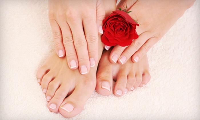 Utopia Salon and Day Spa - Westfield: Basic Mani-Pedi, or Shellac Manicure and Spa Pedicure with Hot Stones at Utopia Salon and Day Spa (Up to 57% Off)