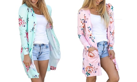 Long-Sleeved Floral Cardigan